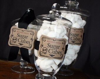 Sugar Skulls Apothecary Jar - 30 Skull Shaped Sugar Cubes