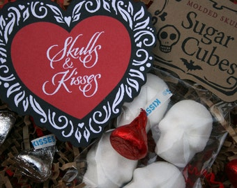 Skulls & Kisses - Valentine Gift Sugar Cube Skull Gift Set Skulls for Lovers Gothic Valentine