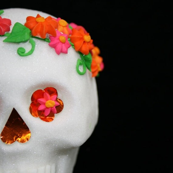 Mexican Sugar Skull - Orange, Hot Pink VIDA DESIGN