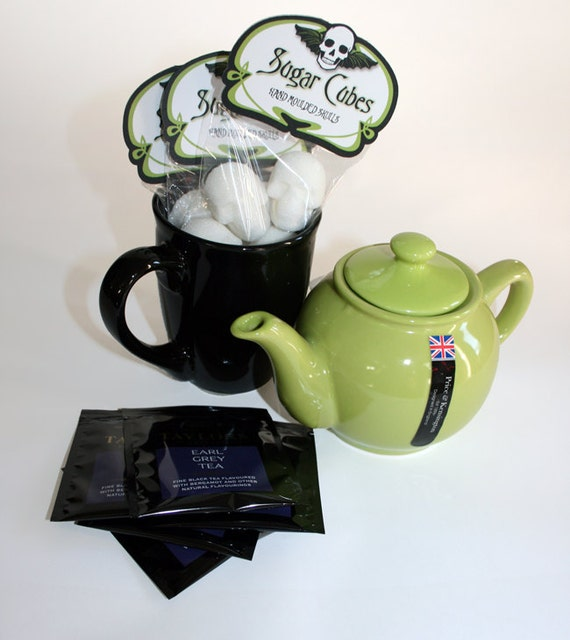 Tea set sugar cube skulls green tea pot tea cup and tea Green tea pot set
