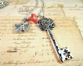 Necklace Vintage Inspired Butterfly Garden Enchanted Key Antique Silver Shabby Chic