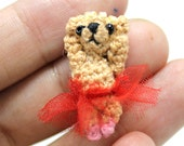 bellay teddy bear miniature micro tiny Crocheted Thread OOAK dollhouse