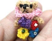 Flower teddy bear miniature micro tiny Crocheted Thread OOAK dollhouse