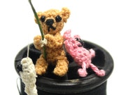 fishing boy and friend - teddy bear miniature micro tiny Crocheted Thread OOAK dollhouse