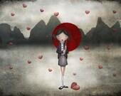"Broken heart - Illustration print (size 5"" x 7"")"