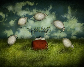 Counting sheep - Art print (3 different sizes)