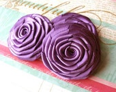 Handmade Satin Roses in Brilliant Iris Purple for hair accessories, applique, wedding supplies, scrapbook and other DIY projects