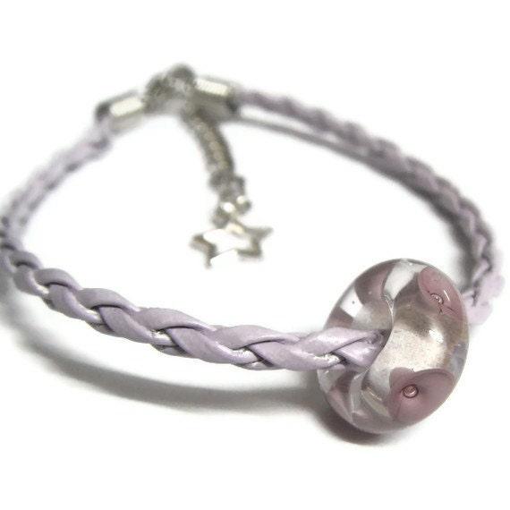 Purple Bead and Cord Handamde Lampwork Bracelet - Esme Crawford SRA