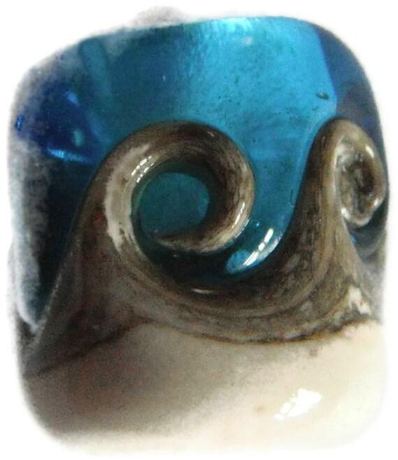 Ocean Waves Dreadlock Bead - Glass lamp work SRA