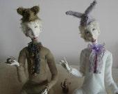 Morning tea Art dolls OOAK Paper clay dolls Handmade doll Animal dolls Reserved