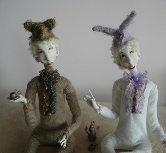 Morning tea Art dolls OOAK Paper clay dolls Handmade doll Animal dolls Reserved