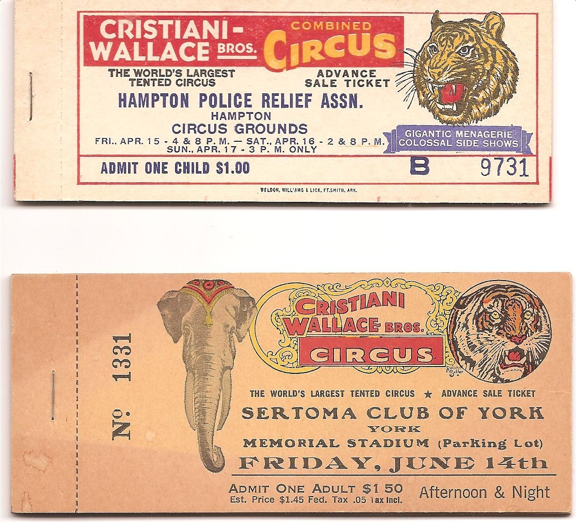 2 Vintage Books Of Circus Tickets Cristiani Bros 1 Adult 1-6672