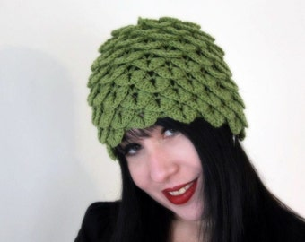 CROCHET PATTERN: Crocodile Dragon Stitch Cloche- Permission to Sell Finished Product
