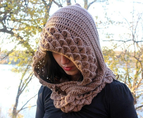 Crochet PATTERN Marte, A Crocodile Stitch Hood - Permission to Sell Finished Items