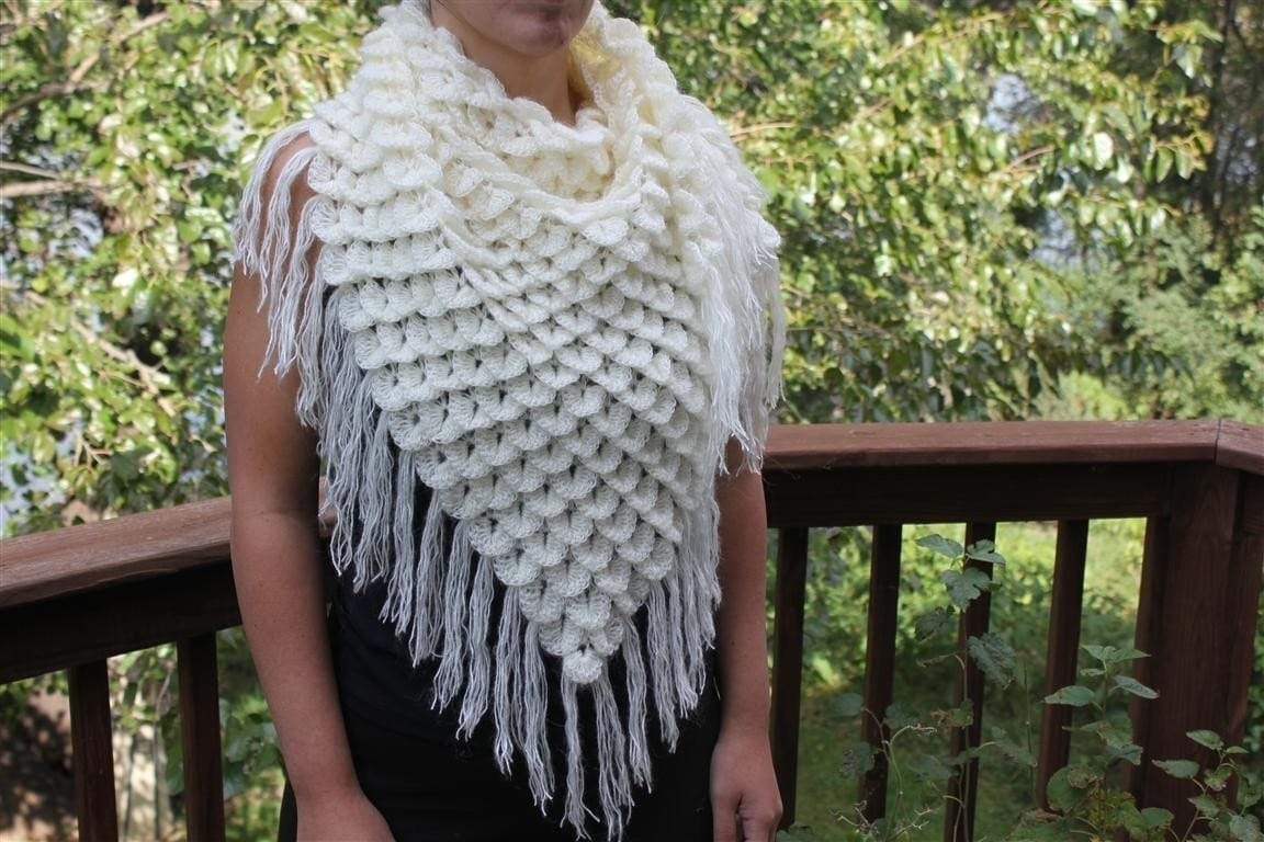 CROCHET PATTERN: Crocodile Stitch Triangle Shawl Permission