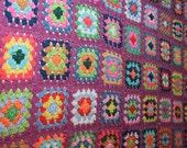 Vintage purple granny square afghan multicolor