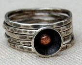 Poppy Stacking Ring Set - Sterling Silver and Recycled Copper - Your Size