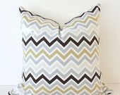 Chevron Decorative Designer Pillow 18 Gray Brown Ivory Tan Zig Zag Accent Cushion . Grey Stone Tan . Neutral Geometric Modern