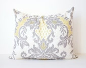 """RESERVED Set of 2 Yellow & Grey Ikat Designer Pillow Cover 16"""" x 20"""" White Gray Linen Accent Throw Cushion modern damask suzani Waverly"""