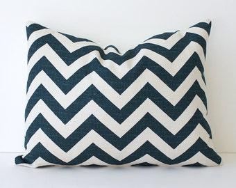 "Zig Zag Decorative Designer Pillow Lumbar 12x16"" Navy Blue Chevron Accent Throw Cushion Cover. Indigo White / Cream . Geometric Modern"