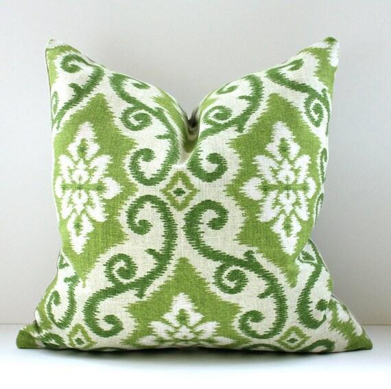 Ikat Decorative Designer Pillow Cover 16 New Green Tan Accent Cushion Avocado Pear Apple Grass green modern suzani