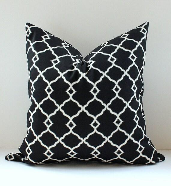 "Trellis Modern Geometric Designer Pillow 20"" Black Onyx / White Accent Throw Cushion Cover hollywood regency fretwork"