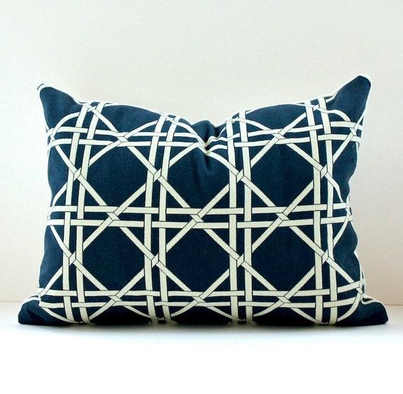 "Lattice Decorative Designer Pillow Lumbar Cover 12"" x 16"" NEW  Navy Blue Nautical Accent Cushion Trellis Geometric  Indigo hollywood regency"