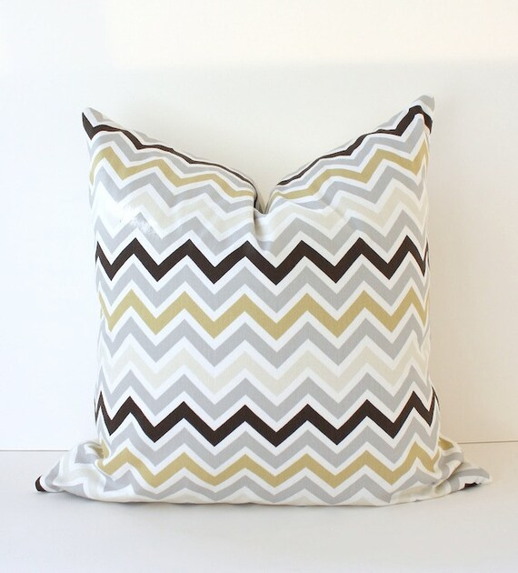 Chevron Decorative Designer Pillow 18 Gray Brown Ivory Tan Zig Zag Accent Cushion . Grey Stone Tan . Neutral Geometric Modern