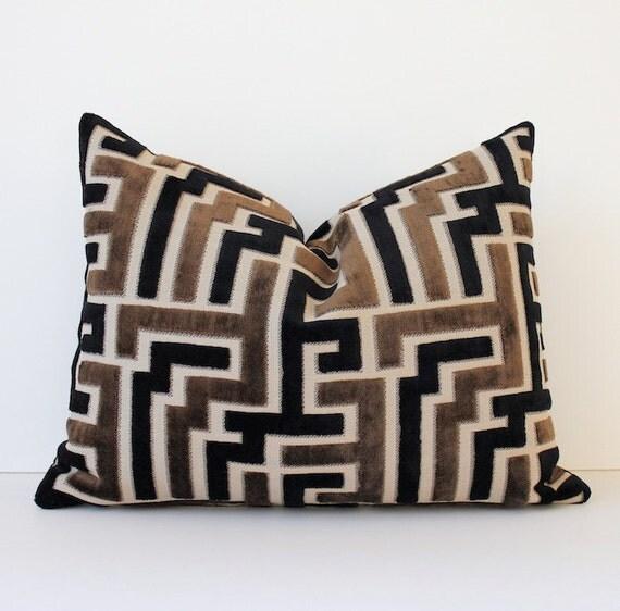 Modern Geometric Velvet Black Amp Chocolate Brown Decorative