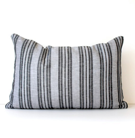 "Black and White Ticking Stripe . French Linen Designer Lumbar Pillow Cover 12"" x 18"" Gray Grey Accent Throw Cushion. country stripe modern"