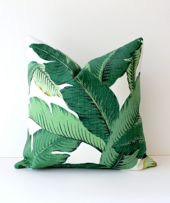 Green Floral Decorative Designer Pillow Cover 18 NEW Accent Cushion Tropical Palm fronds Leaves nature jungle white forest modern Resort