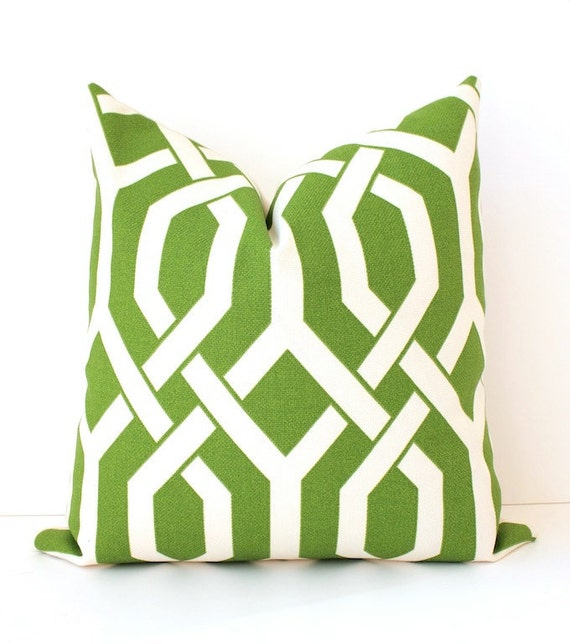 Trellis Modern Geometric Designer Pillow  Apple Green Ivory Cream Accent Throw Cushion Cover hollywood regency imperial lime chartreuse
