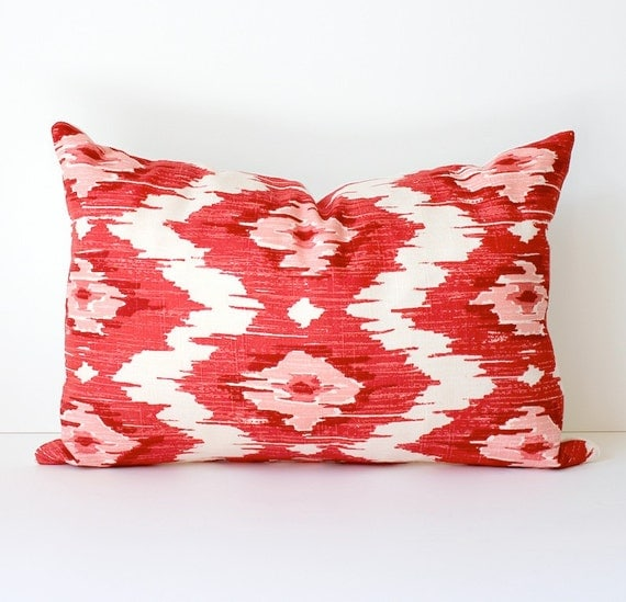 Ikat Modern Decorative Designer Lumbar Pillow Cover 12x18  New. Red Pink Raspberry Magenta. Accent Cushion suzani print Valentines Day