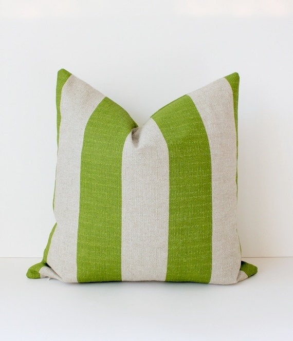 """Striped Lime Green Designer Pillow Cover 18"""" tan taupe Accent Cushion Modern Farmhouse cottage chic stripe summer chartreuse"""
