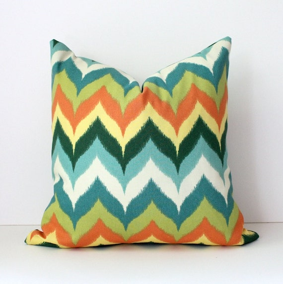 """Chevron lime green yellow modern Flamestitch Designer Pillow Cover 16"""" Accent Cushion missoni style turquoise orange teal"""