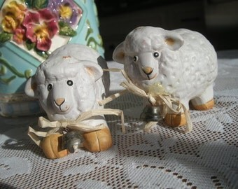 Two little Lamb Figurines with bells