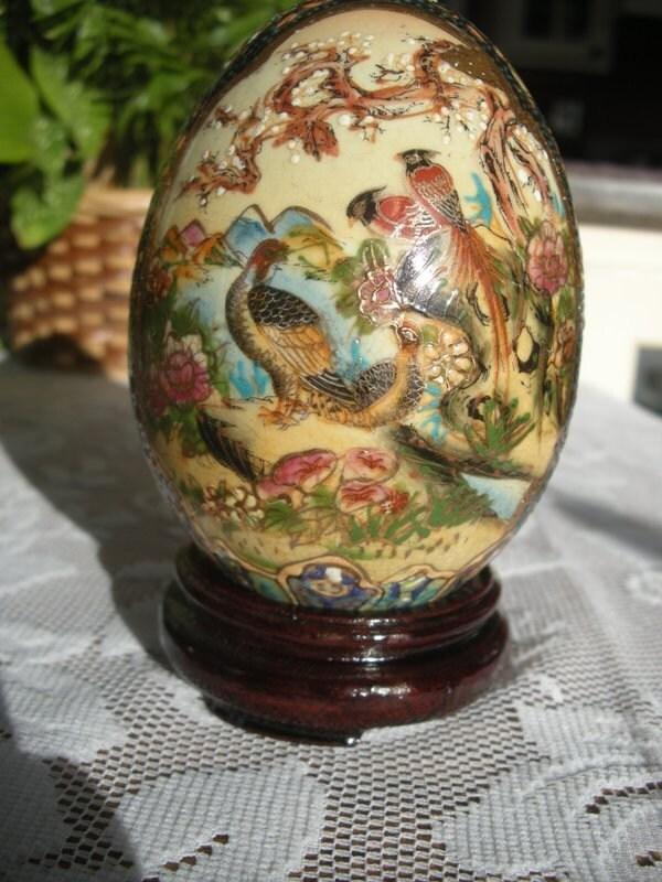 Royal Satsuma Porcelain Japanse Egg Decorated With Birds
