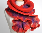 Felted scarf - Red / extra long
