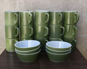 Retro Green Mugs and Bowls by Federal Glass Company