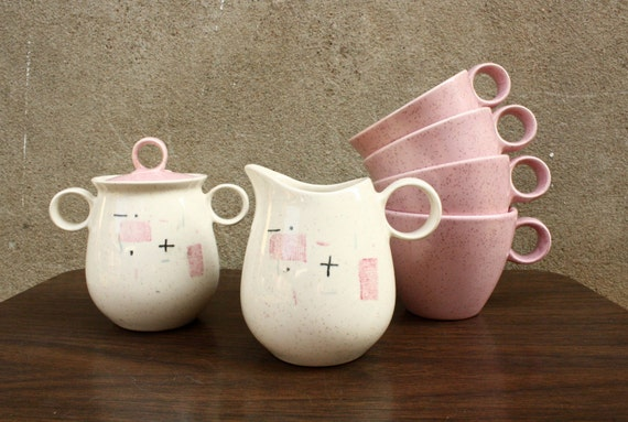 SALE-1950s Tickled Pink dish set by Vernon Ware