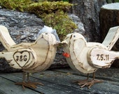 Wedding Cake Topper - Rustic Love Birds with Birdcage Veil and Bowtie - Wedding Decoration - Set of two (2)