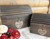 Wedding Card Box - Med Size - Rustic Wood Chest with CARD SloT and LOCK-KeY Set - ALL Inclusive