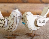 Custom Wedding Cake Topper - Rustic Love Birds with Birdcage Veil and Bowtie - Wedding Decoration - Set of two (2)