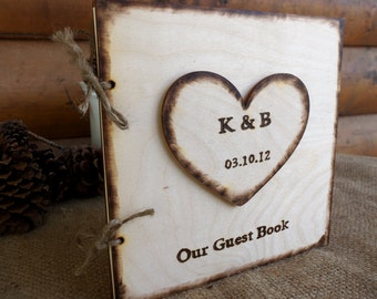 Wedding Guest Book - Rustic Wood Guest Sign-In Book with Large Personalized Heart