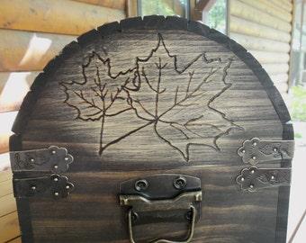 Wedding Card Box - Medium - Rustic Wood - Custom Design Box - MaPLE LeAF DeSIGN