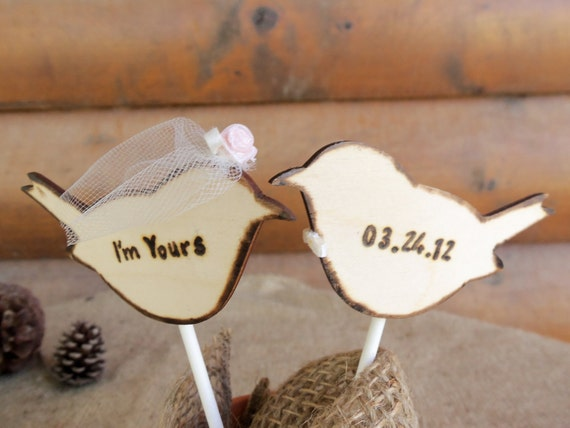 Wedding Cake Topper - Rustic Love Birds with Veil and Bowtie - Set of two (2) You CHOOSE the colors