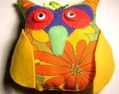 Handmade stuffed fabric owl no 5