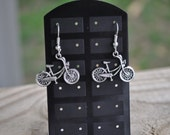 Handmade Bronze or Silver Bicycle Earrings