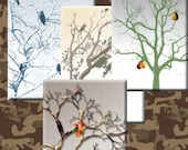WINTER TREE images Vintage Tags ATC Digital Cards (250) you print Collage crafts, scrapbooking, cards, instant download