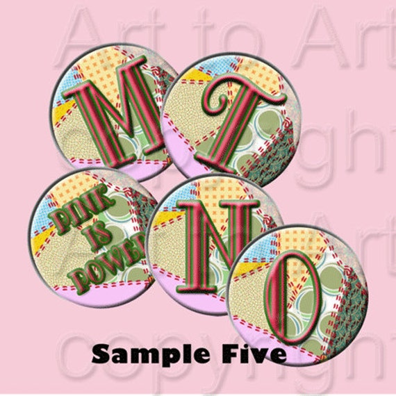 Patchwork Circles Alphabet Digital Images make tiles, pendants, jewelry, crafts, scrapbooking, printable ABCs Instant Download 199